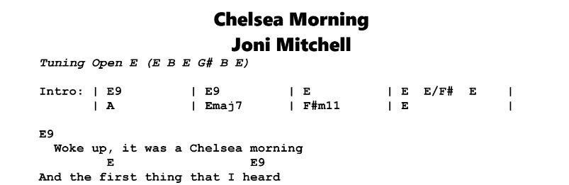 Joni Mitchell – Chelsea Morning Chords & Songsheet
