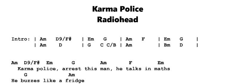Karma Police Easy Guitar Chords Cfa Vauban Du Btiment