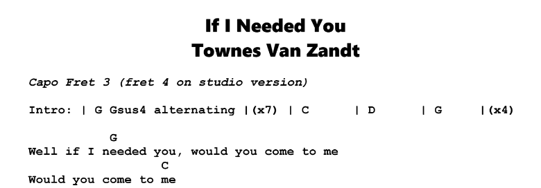 Townes Van Zandt If I Needed You Guitar Lesson Tabs Chords Jgb