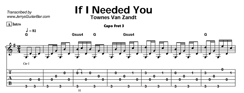 Townes Van Zandt – If I Needed You Tab