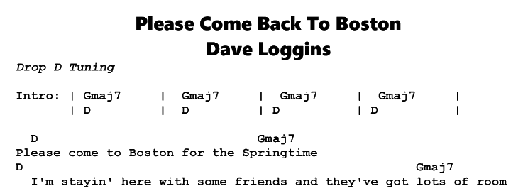 Dave Loggins – Please Come To Boston Chords & Songsheet