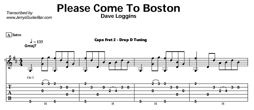 Dave Loggins – Please Come To Boston Tab