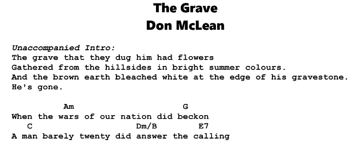 Don McLean – The Grave Chords & Songsheet