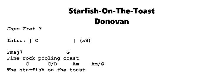 Donovan – Starfish On The Toast Chords & Songsheet