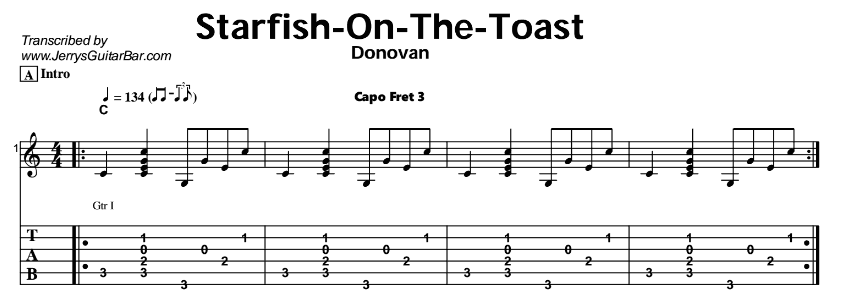 Donovan – Starfish On The Toast Tab