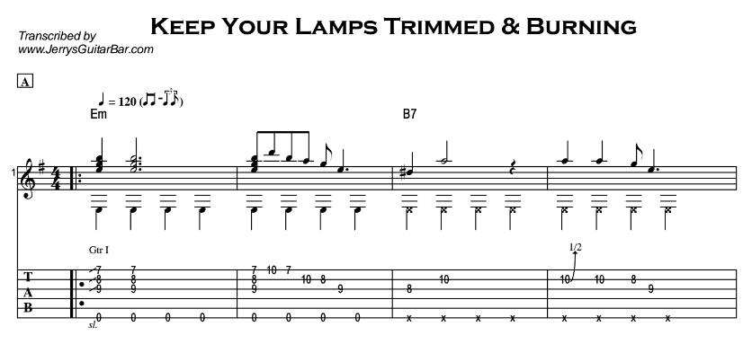 Fingerstyle Instrumental - Keep Your Lamps Trimmed & Burning Tab