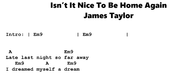James Taylor – Soldiers & Isn't It Nice To Be Home Again Chords & Songsheet