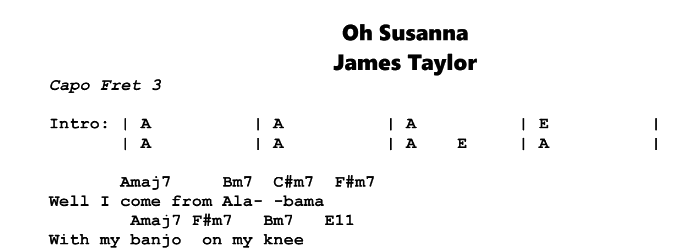 James Taylor – Oh Susanna Chords & Songsheet