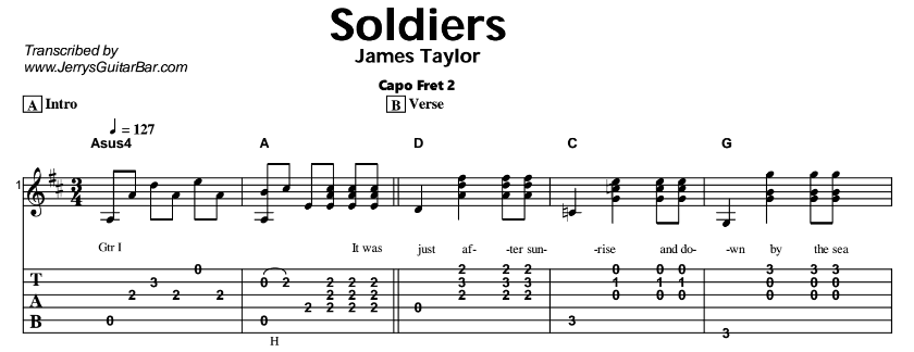 James Taylor – Soldiers & Isn't It Nice To Be Home Again Tab