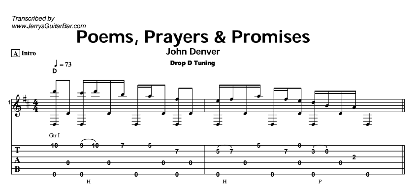 John Denver – Poems, Prayers and Promises Tab
