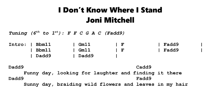 Joni Mitchell – I Don't Know Where I Stand Chords & Songsheet