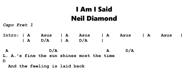 Neil Diamond – I Am I Said Chords & Songsheet