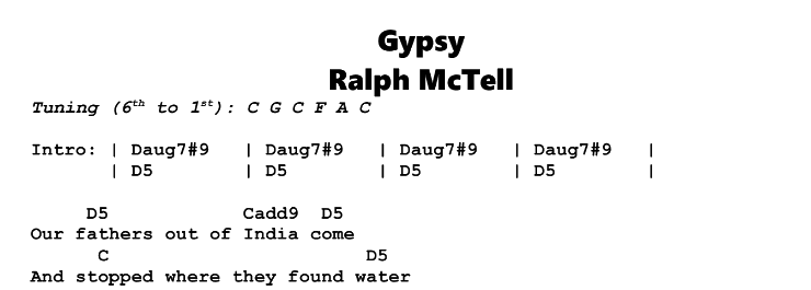 Ralph McTell - Gypsy Chords & Songsheet