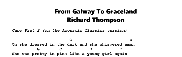 Richard Thompson – From Galway To Graceland Chords & Songsheet