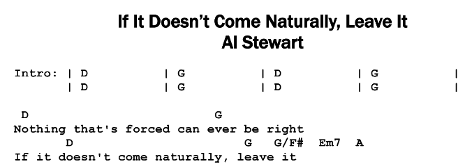 Al Stewart – If It Doesn't Come Naturally, Leave It Chords & Songsheet