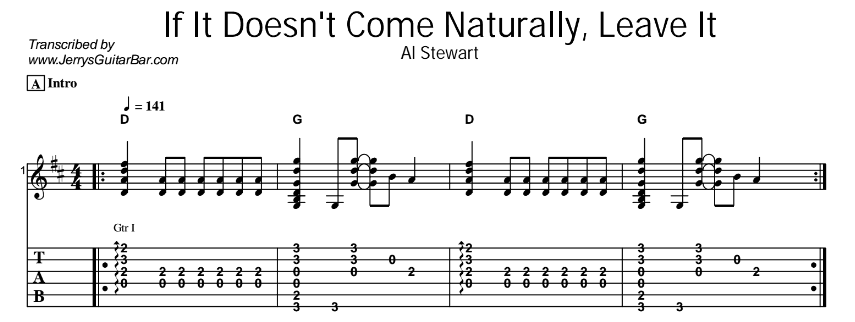 Al Stewart – If It Doesn't Come Naturally, Leave It Tab