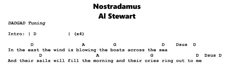 Al Stewart - Nostradamus Chords & Songsheet