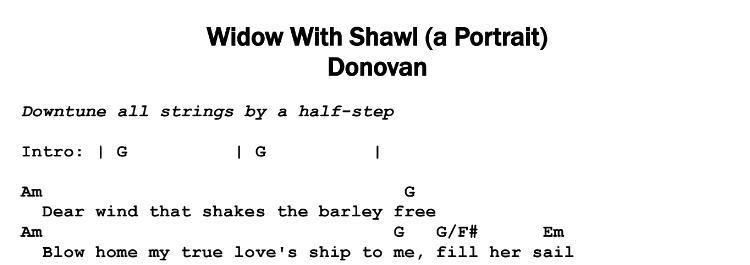 Donovan – Widow With Shawl (A Portrait) Chords & Songsheet