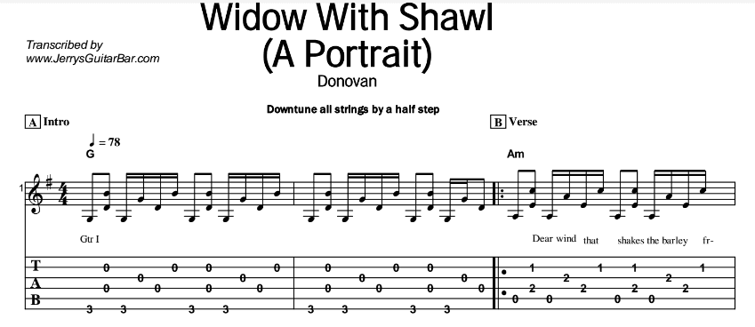 Donovan – Widow With Shawl (A Portrait) Tab