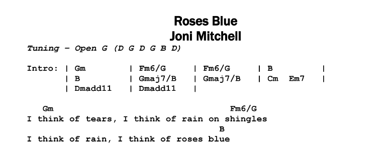 Joni Mitchell – Roses Blue Chords & Songsheet
