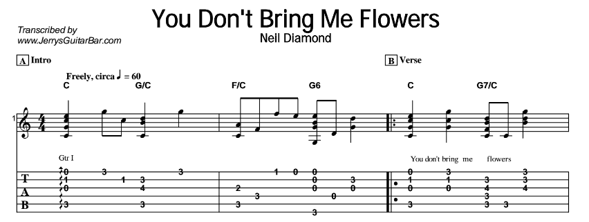 Neil Diamond – You Don't Bring Me Flowers Tab