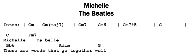 The Beatles - Michelle Songsheet & Chords