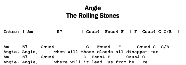 The Rolling Stones - Angie Chords & Songsheet