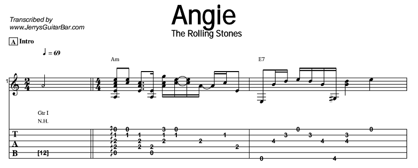 The Rolling Stones Angie Guitar Lesson Tabs Chords Jgb