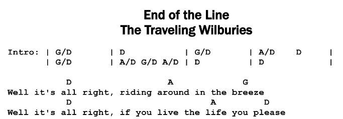 The Traveling Wilburys – End of the Line Chords & Songsheet