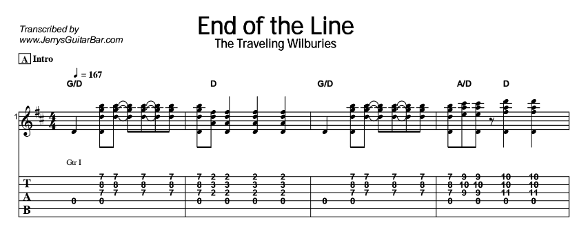 The Traveling Wilburys – End of the Line Tab