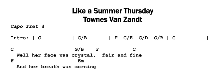 Townes Van Zandt – Like a Summer Thursday Chords & Songsheet
