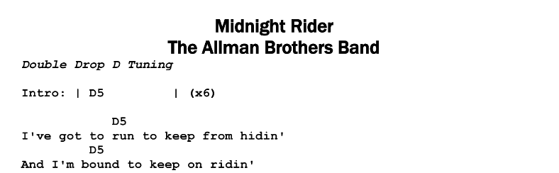 The Allman Brothers Band – Midnight Rider Chords & Songsheet