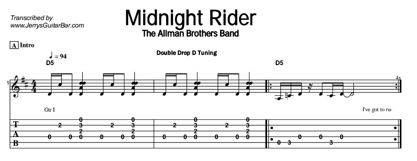 The Allman Brothers Band – Midnight Rider Tab