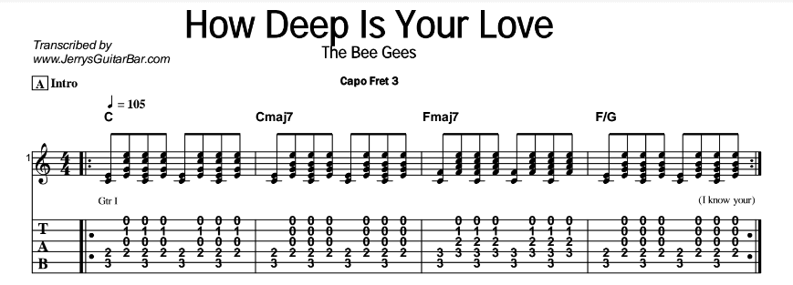 Next How Deep Is Your Love Easy Guitar Chords