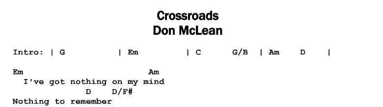 Don McLean - Crossroads Chords & Songsheet