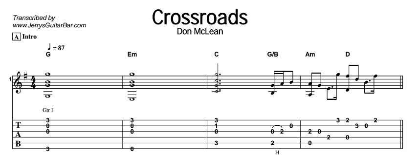 Don McLean - Crossroads Tab