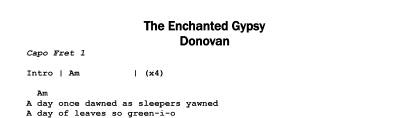 Donovan – The Enchanted Gypsy Chords & Songsheet