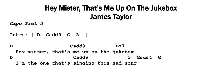 James Taylor – Hey Mister That's Me Up On The Jukebox Chords & Songsheet