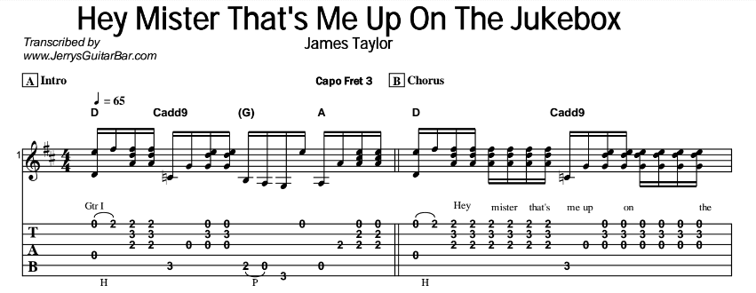 James Taylor – Hey Mister That's Me Up On The Jukebox Tab