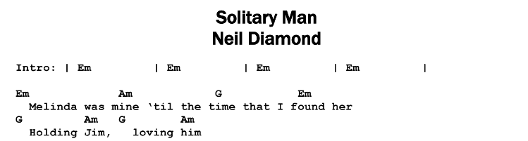 Neil Diamond – Solitary Man Chords & Songsheet
