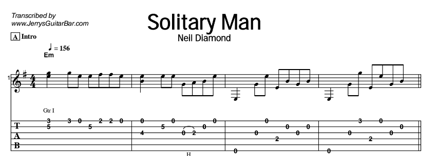 Neil Diamond – Solitary Man Tab