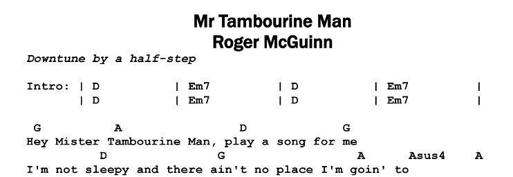 Roger McGuinn – Mr Tambourine Man (acoustic) Chords & Songsheet