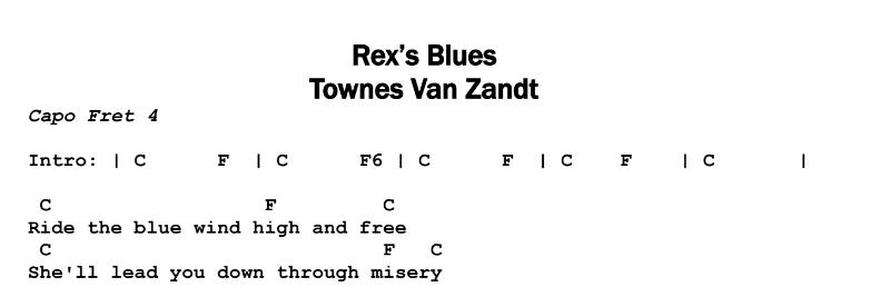 Townes Van Zandt – Rex's Blues Chords & Songsheet