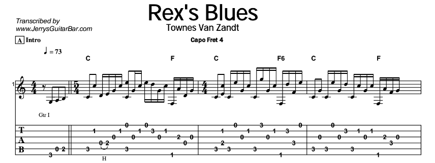 Townes Van Zandt – Rex's Blues Tab
