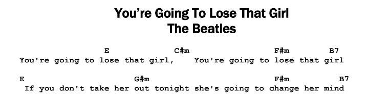Beatles – You're Going To Lose That Girl Songsheet & Chords