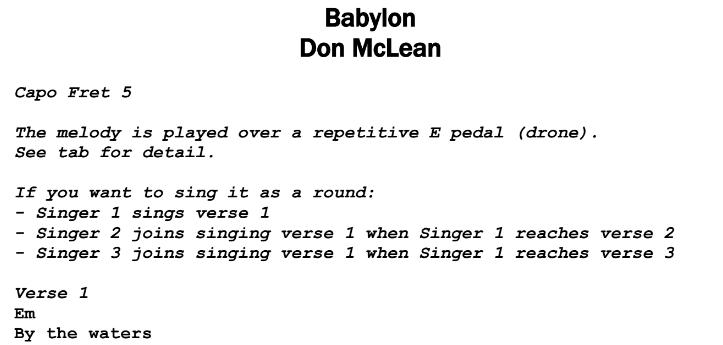 Don McLean - Babylon Chords & Songsheet