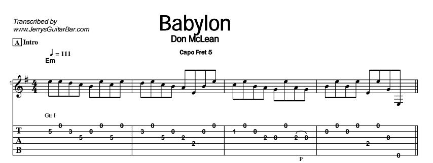 Don McLean - Babylon Tab