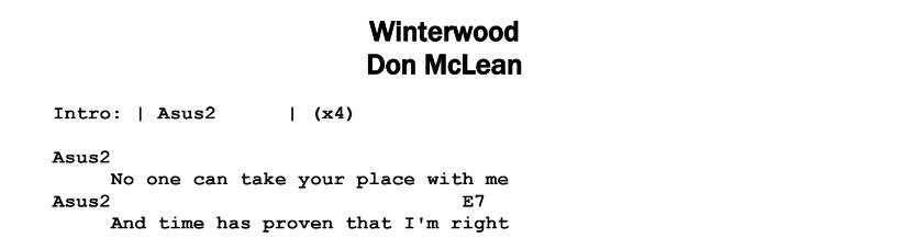 Don McLean - Winterwood Chords & Songsheet