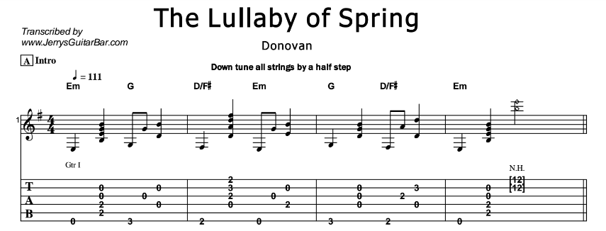 Donovan - The Lullaby of Spring Tab