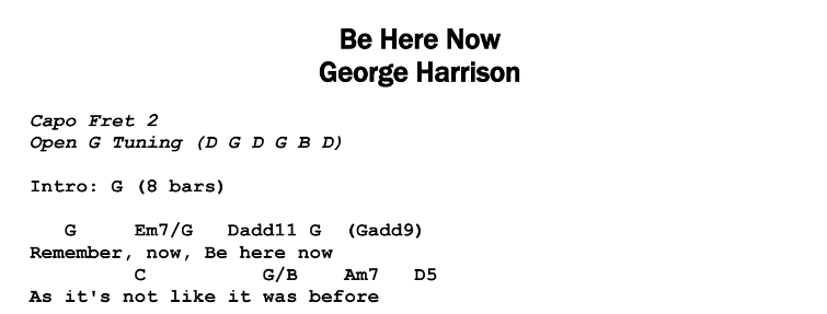 George Harrison – Be Here Now Chords & Songsheet